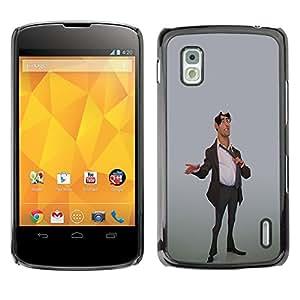 GOODTHINGS Funda Imagen Diseño Carcasa Tapa Trasera Negro Cover Skin Case para LG Google Nexus 4 E960 - corredor de bolsa hombre traje elegante oficina 3d arte