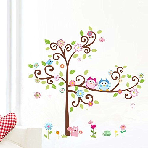 BIBITIME Couple Owls on Tree Branch Wall Sticker Birds Flower Pink Squirrel Cute Hedgehog Vinyl Decal for Nursery Bedroom Kids Room Decor Art Mural DIY 59.05