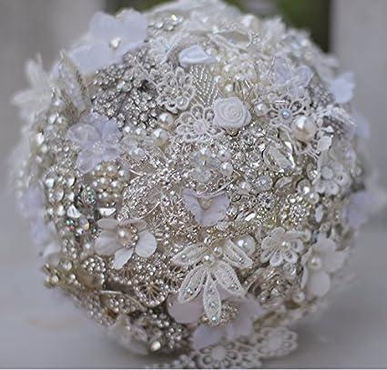 Amazon 7 inch custom bridal bouquetwhite wedding bouquet 7 inch custom bridal bouquetwhite wedding bouquet brooches pearls rhinestones lace mightylinksfo