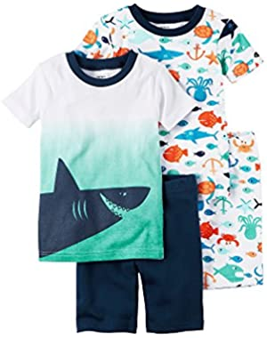 Baby Boys' Ombre Shark 4-Piece Pajama Set