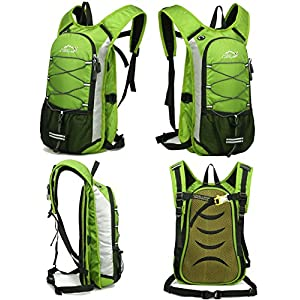 Hydration Pack Backpack - Mygreen Outdoor Hydration Backpack with 2L/70 Oz Water Bladder - Rucksack Bladder Bag for Cycling Running Hiking Camping - Best for Men Women Kids Green