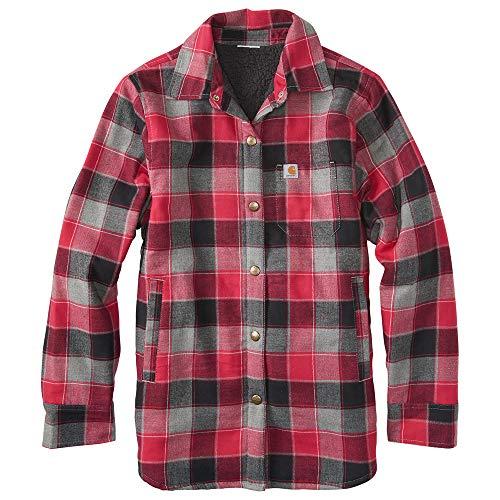 Carhartt Kid's CP9545 Lined Flannel Shirt Jac - Girls - Medium (10-12) - Cerise