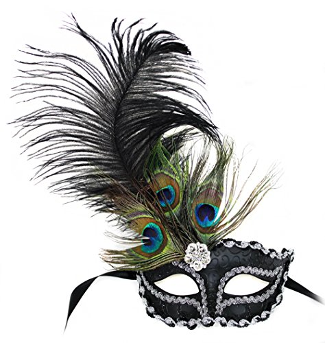 Zoey Peacock Feather Black Masquerade Mask for Women Ostrich Feather Masks