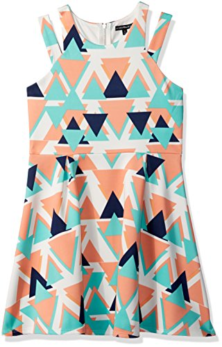 My Michelle Girls' Big Geometric Print Double Strap Dress, Multi, 7 (My Clothes Michelle)