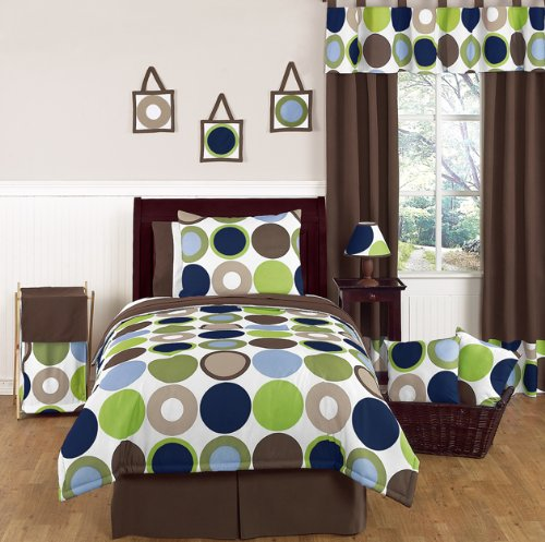 Designer Dot Boys Modern Childrens and Teen Bedding 3pc Full / Queen Set