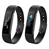 CURIOCITY™ Black Bluetooth Smart Band fitness tracker with Heart Rate Monitor for Android/IOS Mobile Phones compatible with Samsung iPhone HTC Moto Mi One Plus and many others!