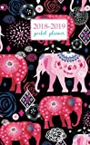 2018-2019 Pocket Planner: 2 Year Pocket Monthly Calenda Planner 4 x 6.5 inch elephant art and flower - floral design (Volume 33)
