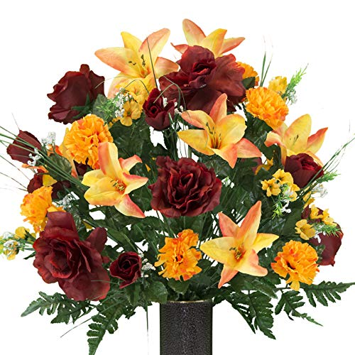 Tall Vases In Bulk (Orange Stargazer Lily and Burgundy Rose Mix Artificial Bouquet, featuring the Stay-In-The-Vase Design(c) Flower Holder)