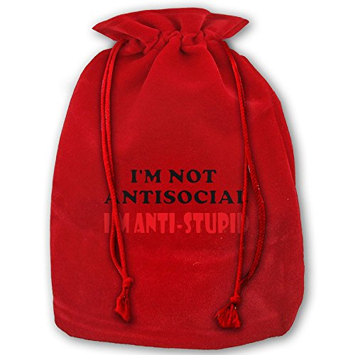 SEKODOVE Christmas Gifts Christmas Drawstring Bags I'm Not Anti-social I'm Anti Stupid Christmas Holiday Gift Pouch Bags (Christmas Party Diary Social)