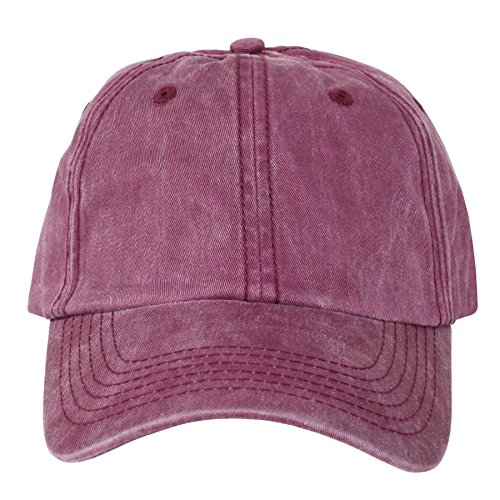 Maroon Washed Dad Cap Hat - Brand New - OSFA (Hats For Cheap)