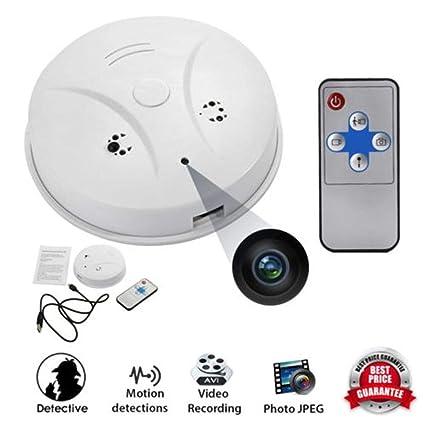 ehind cámara Seguridad WiFi Detector de Humo de cámara, HD 1080p, detección de Movimiento