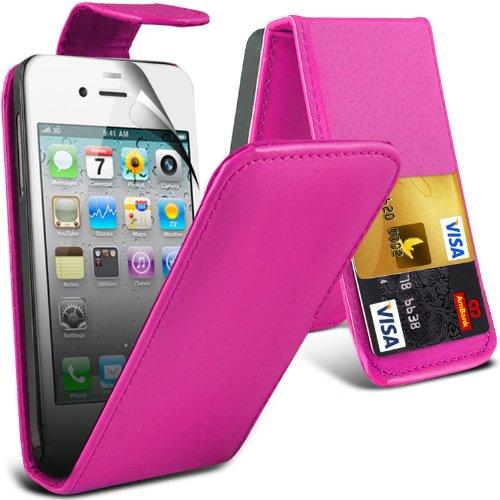 ( Hot Pink ) Apple iphone 4 High Quality Faux Skin Case flip carte de crédit / débit Slot couverture en cuir & Protecteur d'écran LCD Garde by i-Tronixs