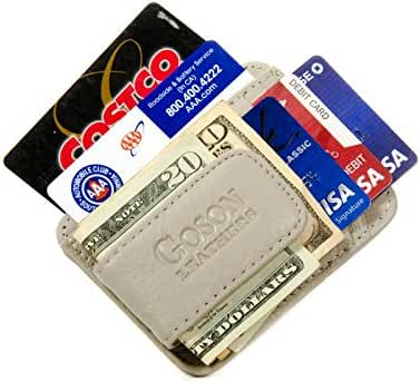 Goson Men's Leather Front Pocket Card Holder Wallet with Magnetic Money Clip
