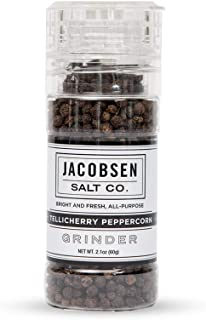 product image for Jacobsen Salt Co. Specialty Sea Salt with Refillable Loaded Grinder for Gourmet Cooking, Tellicherry Peppercorns, 2.15 Ounce
