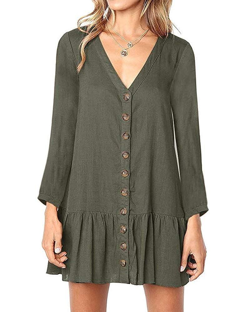 bae47be19ff Huiyuzhi Womens V Neck Button Down Shirt Dresses Long Sleeve Ruffles Midi  Skater Dress with Pockets at Amazon Women s Clothing store