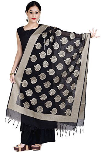 (Chandrakala Women's Handwoven Red Zari Work Banarasi Dupatta Stole Scarf,Free Size (D122BLA))