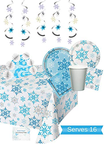 Snowflake Winter Party Supplies - Snowflake Plates Cups Napkins Centerpiece Tablecloth and Decorations for 16 People - Perfect Winter Wonderland Party Decorations! for $<!--$36.95-->