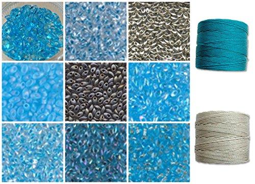 100g Grams Long Magatama Bead Mix Miyuki-Aqua, Turquoise, Silver, Sky, Blue. 10 Tubes, 10g Each Plus 2 spools Cord. Kumihimo, Peyote, Macrame - Miyuki Lime Green Transparent Beads