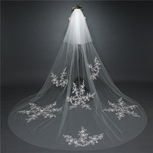 Lydia Wedding veil long lace bridal veil 3 m handmade snowflake long tail mural veil + comb, ivory, 3m