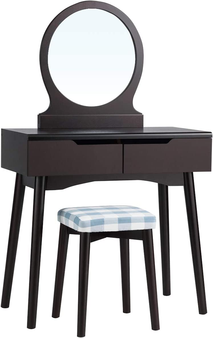 CHARMAID Vanity Set with Large Round Mirror and 2 Sliding Drawers, Makeup Set with Cushioned Stool, Solid Wood Legs, Tilting Preventing Device, Dressing Table for Women and Girls Coffee