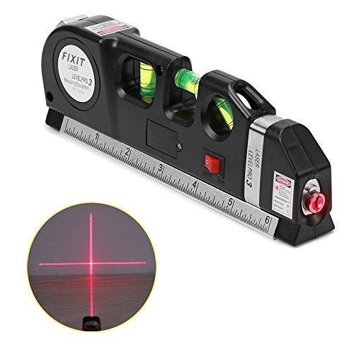 Construction Tools (AOZBZ Multipurpose Line Laser Level Horizon Vertical Measure Tape Adjusted Standard and Metric Ruler 8FT/2.5M Aligner Bubbles Ruler Tool for Measurement Construction Indoor Laying)