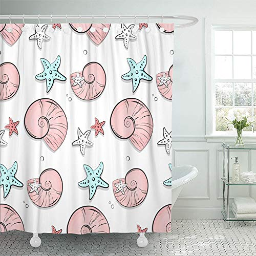Emvency Shower Curtain Waterproof Adjustable Polyester Fabric Blue Pearl Seashell and Stars Marine Pattern Ocean Starfish Shell Tropical Water 60 x 72 Inches Set with Hooks for Bathroom