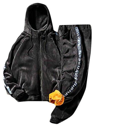 today Hooded Dark Jacket Grey Mens Velvet Sweatpant UK Fashion Tracksuit and Sweatshirt gwvqIrg6