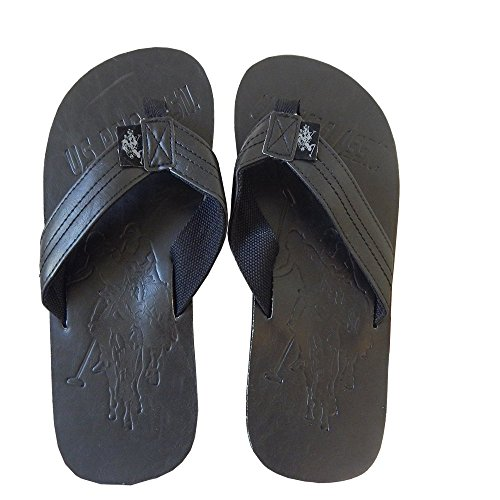 U.S. Polo Assn. Men's Premium Sandals Grand Leatherette Flip Flops Thongs Broad Full Cut Flip Flop