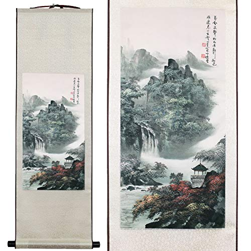 SweetHome Asian Silk Scroll & Picture Scroll & Wall Scroll Calligraphy Hanging Artwork Beautiful Mountain River Scene (Style A)
