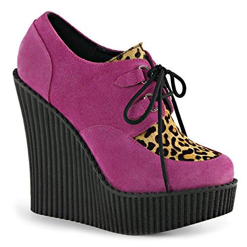 Summitfashions Mujeres Hot Pink Wedges Plataforma Botines Leopard Print Creepers Zapatos 5 ¼ Pulgadas