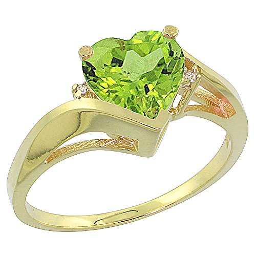 14K White Gold Natural Peridot Heart Ring 7mm Diamond Accent, sizes 5 – 10