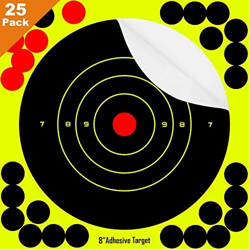 Air Rifle Paper - HOMEE Shooting Targets 25 Pack Self Adhesive Paper Splatter Reactive Targets Stickers for Air Rifle BB Pistol Airsoft Guns Pistol Gun Pellet Gun Air Rifle