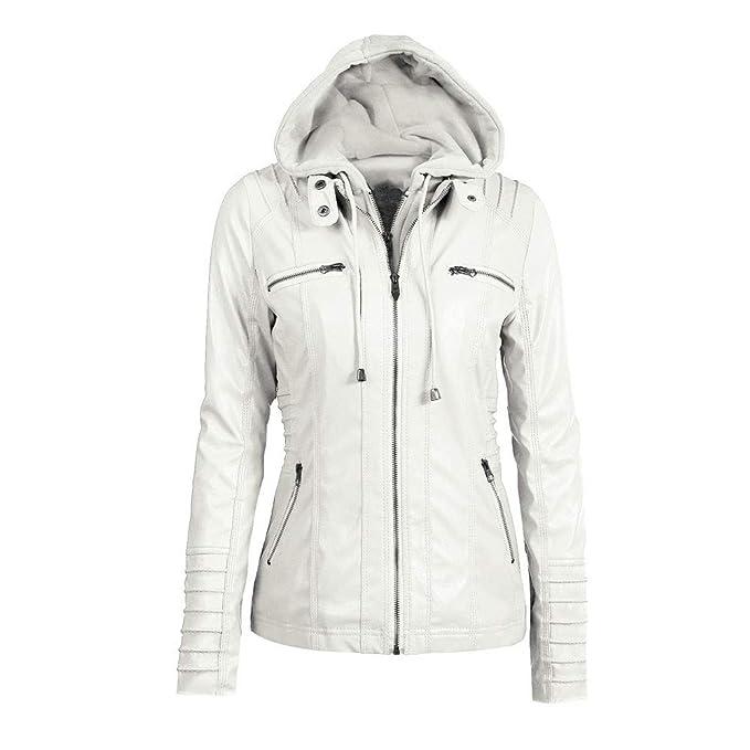 Biker Jacket AfterSo Womens Winter Warm Hooded Faux leather ...