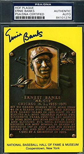 ERNIE BANKS PSA DNA Coa Autograph Gold HOF Plaque Hand Signed Authentic