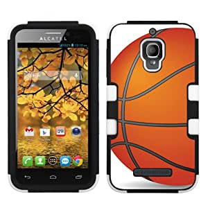 One Tough Shield ® Hybrid-Layer Phone Case for Alcatel One Touch Fierce 7024W - (Basketball)