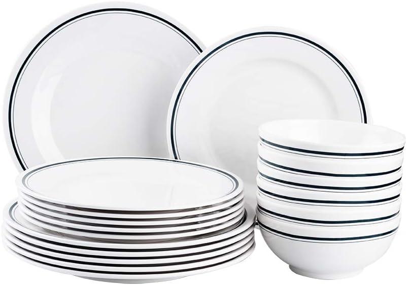 T-mark Melamine Dinnerware Set - 18 Pcs Outdoor Use Melamine Dinner Plates and Bowls Set Service for 6, Lightweight Unbreakable