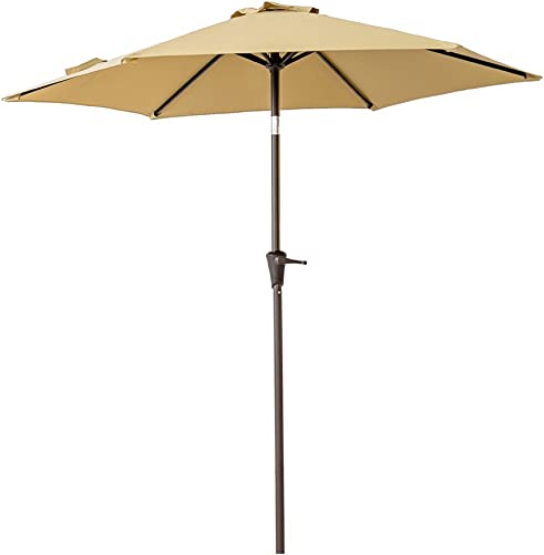 C-Hopetree 7.5 ft Patio Outdoor Market Umbrella for Small Balcony Garden Restaurant Caf Back-Yard with Tilting, Beige
