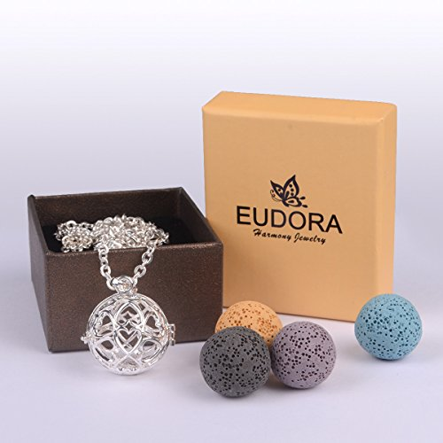 EUDORA Fashion Volcanic Rock Beads Locket Pendant Essential Oil Diffuser Necklace fit for Youngliving by EUDORA (Image #5)