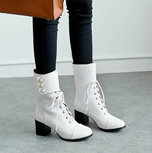 Platform Heeled Temperament shoes Winter Size of White HETAO Heels High Ladies Booties Personality Block short Womens Elegant Heel Boots Ankle wz0q14