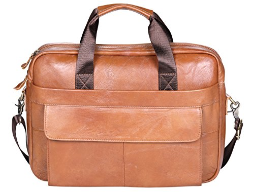VIDNEG Handmade Briefcase Top Grain Leather Laptop Bag Messenger Shoulder Bag for Business Office 15 inch Macbook (CP-Light Brown) by VIDENG (Image #2)