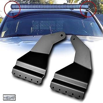 VXMOTOR for 2002-2009 Dodge Ram 1500 2500 3500 Black Roof Windshield Pillar Custom Mount Brackets Rack Kit For 52 Straight LED Light Bar