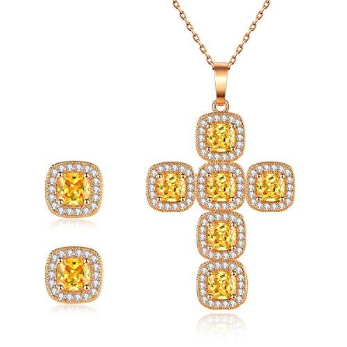 Stud Earrings Sets,Cross Pendant&Stud Earrings Sets Women Jewelry Gifts Christmas Gifts Women Necklace Jewelry Pendant Jewelry Women Jewelry Gold Cross Necklace Golden Crystal