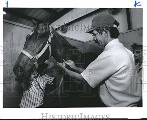 1992 Press Photo Bandera Downs, San Antonio veterinarian for Texas Racing Comm. (San Antonio Bandera)