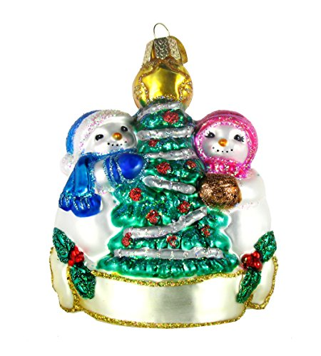 Old World Christmas Snowman Christmas Couple Glass Ornament