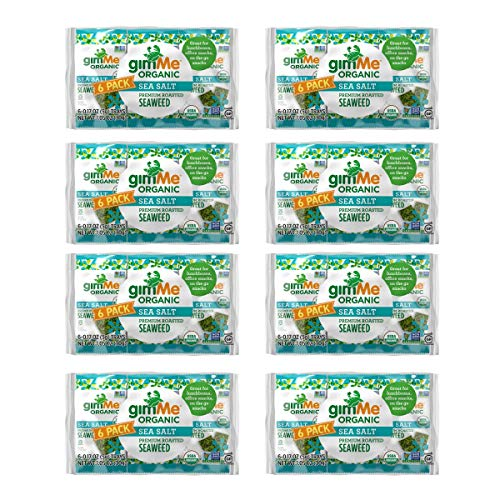 gimMe Snacks - Organic Roasted Seaweed - Sea Salt - (.17oz) - (Pack of 48) - non GMO, Gluten Free - Healthy on-the-go snack for kids & adults