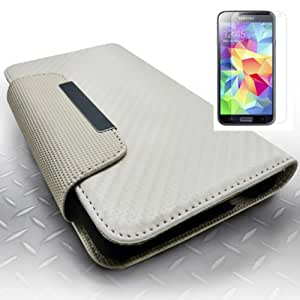 [ARENA] WHITE CARBON FIBER FLIP COVER WALLET ID POUCH CASE for SAMSUNG GALAXY S5 + FREE SCREEN PROTECTOR