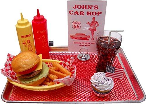 Cheeseburger Fake Food Car Hop Tray - Cal Look Window