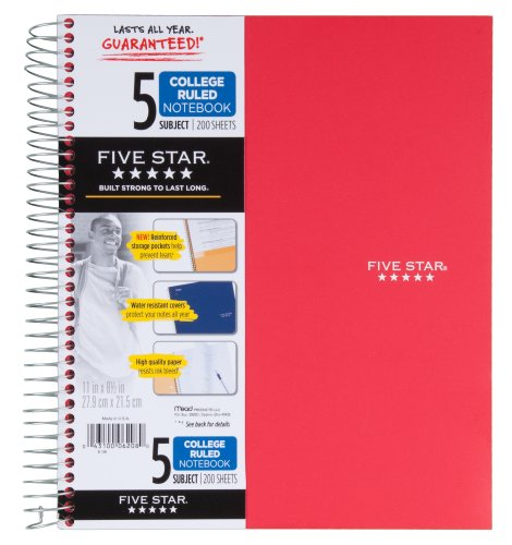043100062080 - Five Star Spiral Notebook, 5 Subject, College Ruled, 200 Sheets, 11 x 8.5 Inch, 1 Notebook, Assorted Colors - Color May Vary (06208) carousel main 5