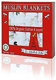 4 PACK!!! Organic Cotton Premium Muslin Blanket by La Libellule Bebé -- ...