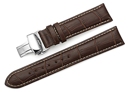 iStrap 22mm Calf Leather Stitched Replacement Watch Band Push Button Deployment Buckle Strap Brown (Watch Bands Leather 22mm)